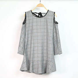 Europe and the United States autumn new off-the-shoulder plaid long-sleeved round neck pullover dress women's clothing