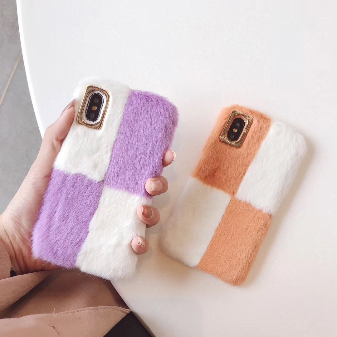 Apple XR/XS mobile phone shell autumn and winter plush for iphone8plus temperament color matching 6S/7 soft shell tide female models