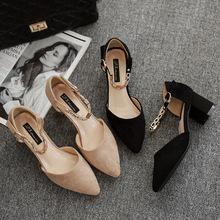 2018春夏新款单鞋女粗跟尖头中跟时装鞋女包头一字扣凉鞋磨砂