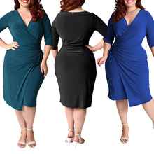 Europe and the United States large size women's solid color five-point sleeves skirt sexy V-neck tie bow irregular pleated dress