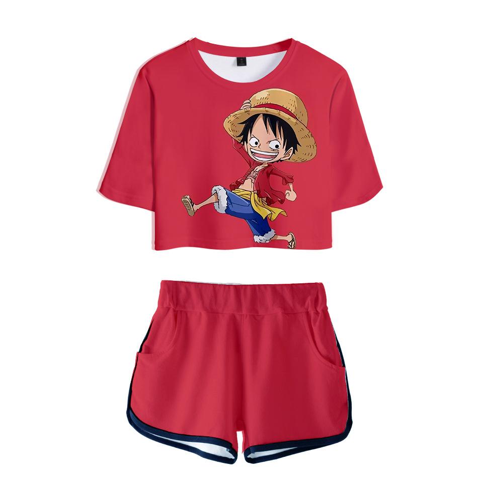 跨境亚马逊日漫数码印花3D露脐短袖T恤短裤套装女夏季