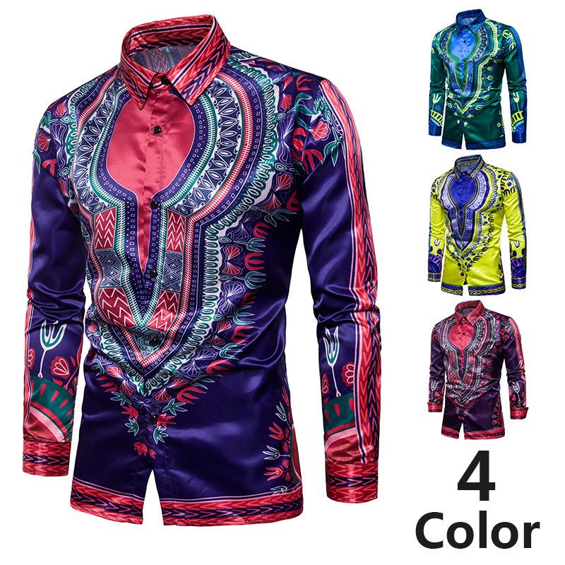 2 [EU size] national style enlarged loose men's printed long sleeve shirt