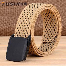 Sports outdoor nylon belt men and women canvas belt youth anti-allergy non-iron metal plastic buckle belt