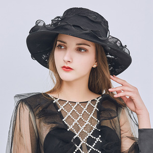 Party hats Fedoras hats for women Foldable women hat soft bud bow sun hat outdoor sun hat