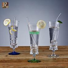 晶悦手工玻璃小蛮腰果汁杯创意彩色饮料水杯鲜榨果汁杯子奶昔杯