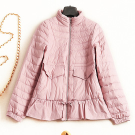Women's short down jacket winter new style collar long sleeve solid color white European and American ladies wind jacket 7132