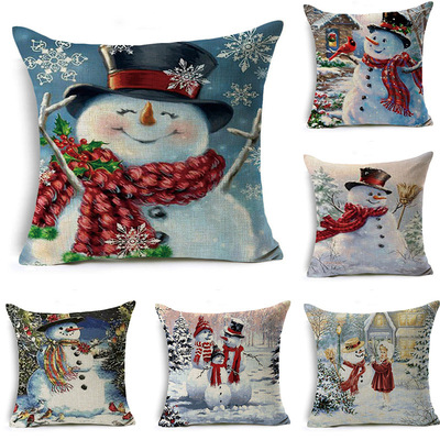 18'' Cushion Cover Pillow Case Custom made Christmas Snowman linen pillow House Office cushion pillow cover