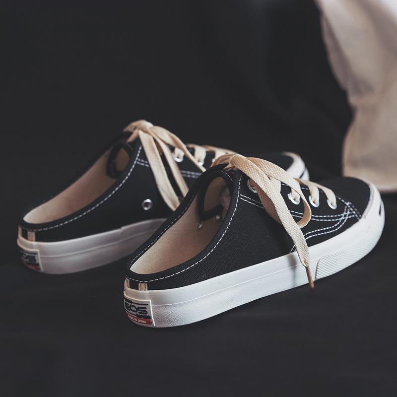 春夏新款学生帆布鞋女时尚系带板鞋开口小白鞋凉鞋半拖托子透气