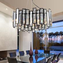 水晶餐桌吊灯北欧现代艺术吊灯创意长方形圆吧台简约LED水晶吊灯