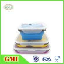 鎖水扣硅膠折疊飯盒 分格保鮮盒 微波爐可用 密封 可伸縮硅膠碗