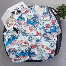 韩国chic风复古碎花百搭宽松清凉夏威夷风衬衫短袖衬衣套装?#20449;?#22799;