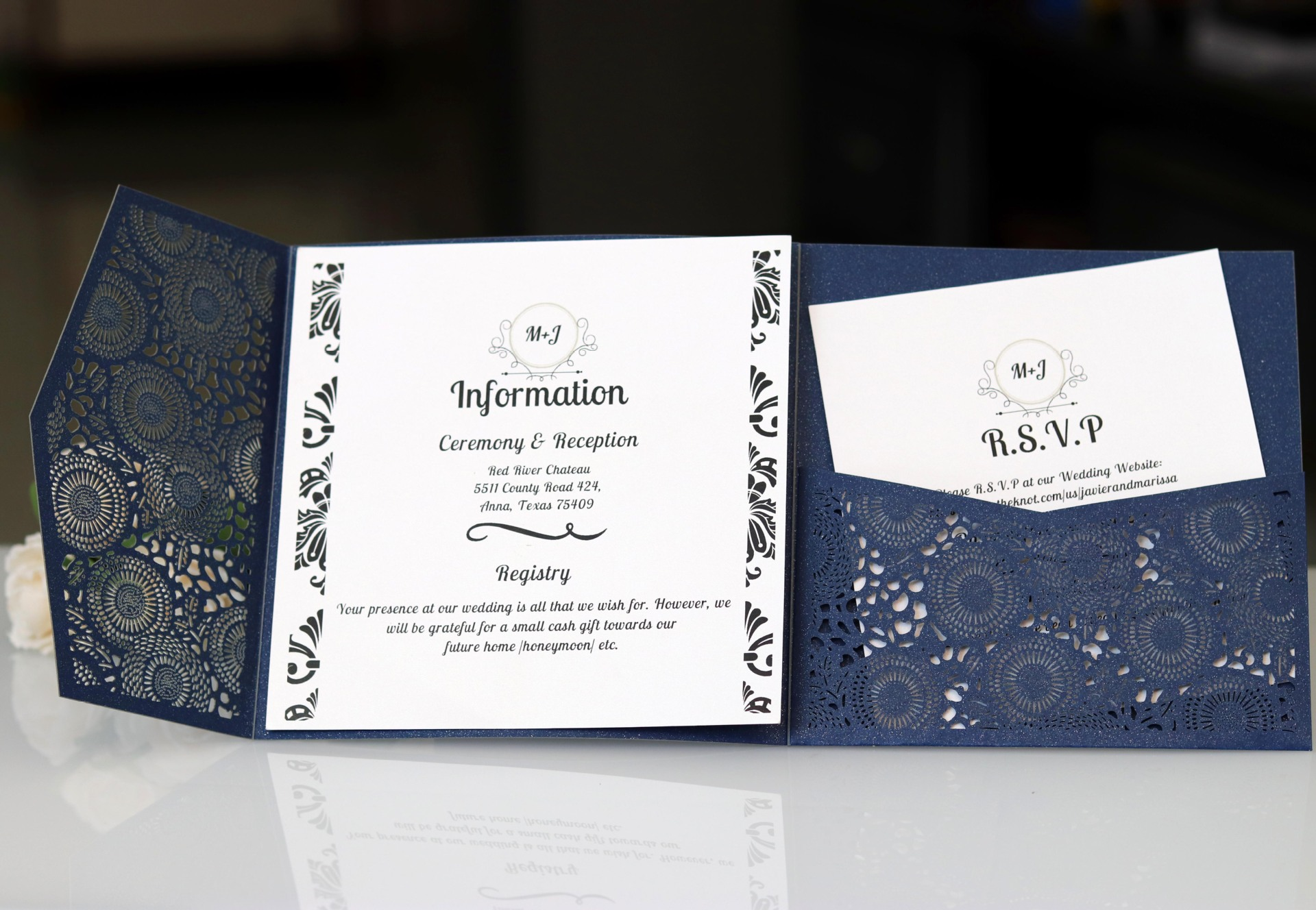 new high quality laser hollow wedding card white business