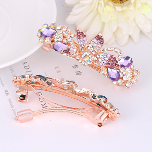 Hair clip hairpin for women girls hair accessories Water diamond large horsetail hairpin versatile crystal alloy bow hairpin