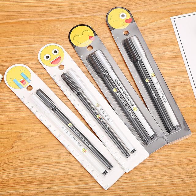 厂家直销创意卡纸装学霸中性笔 学习文具钻石表情带字对对水性笔