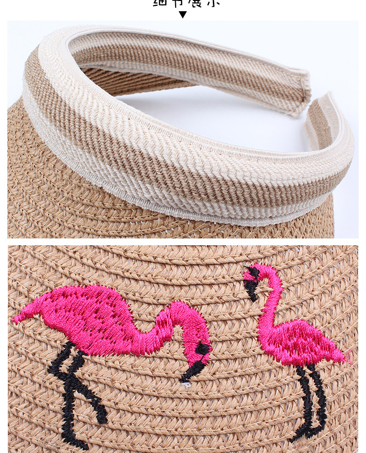 Summer children's straw hat embroidery flamingo empty top hat NHXO193749
