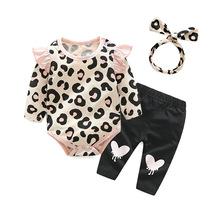 韓版童裝一件代發 2018春款女童豹紋印花可愛飛袖哈衣套裝