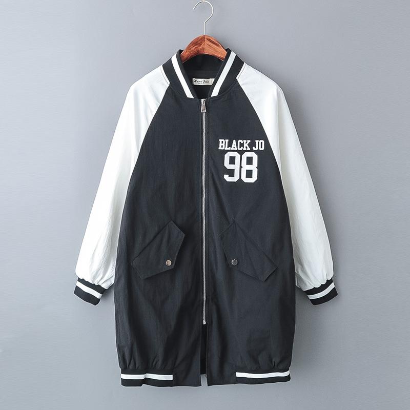 2018春季女装棒球领拼色字母印花中长款长袖风衣 外套女 F522