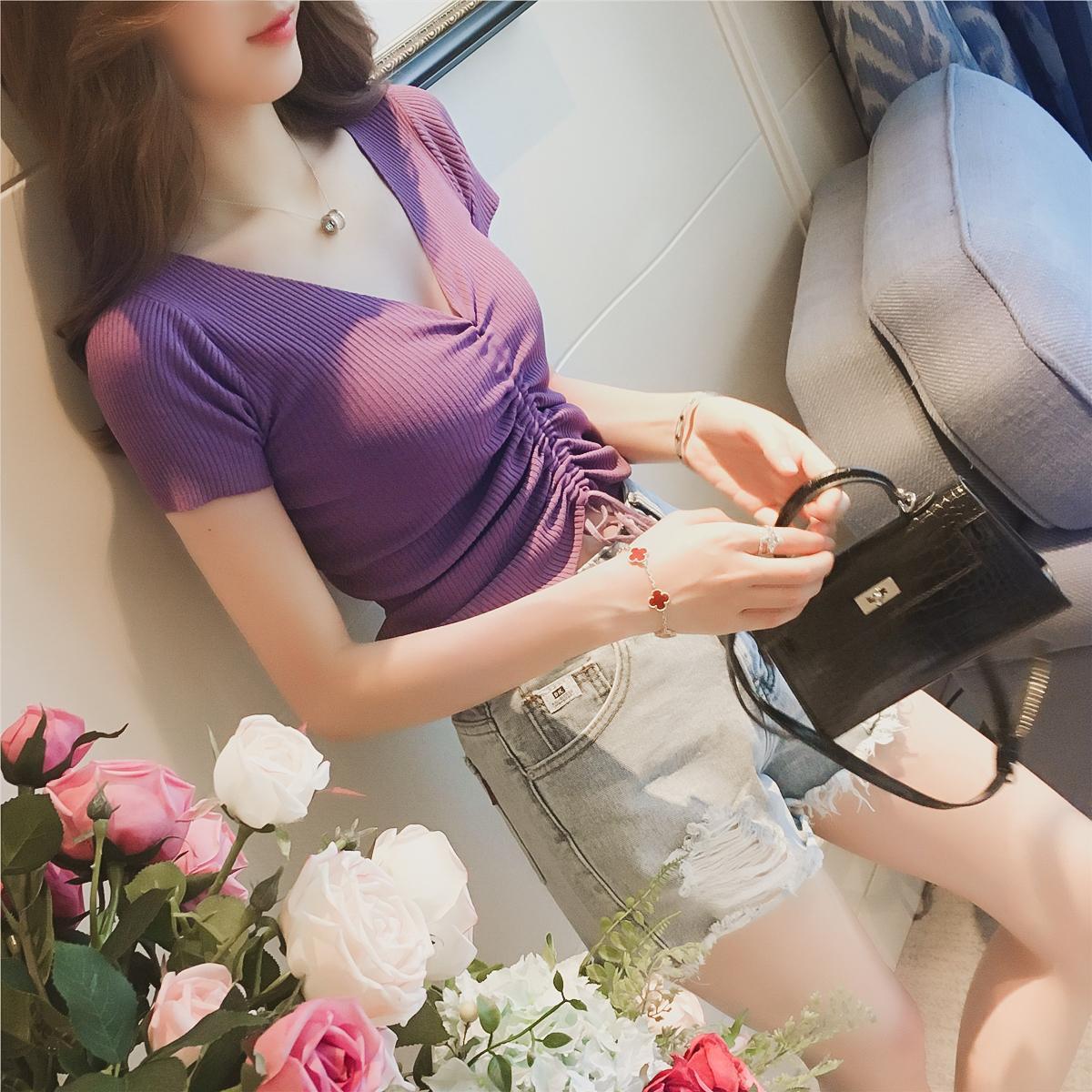 夏季新款韩范V领抽绳修身显瘦露脐性感短款上衣女装短袖T恤