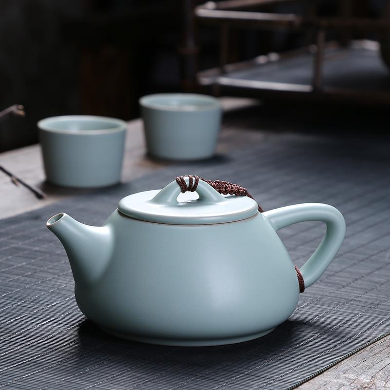 汝窑茶壶手工开片可养陶瓷功夫茶具单壶小号石瓢壶家用汝瓷泡茶壶