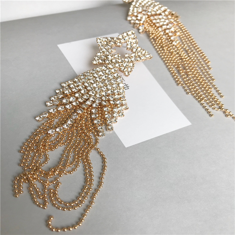 Popular gold copper grab chain earrings fringed exaggerated earrings fashion gold-plated jewelry NHYT199874