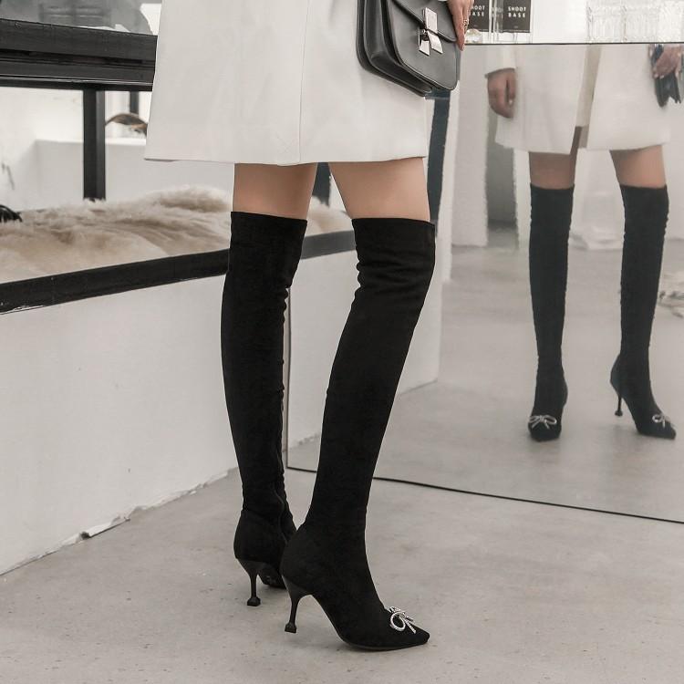2018秋冬新款尖头水钻蝴蝶结甜美过膝长靴子女细跟高跟大码靴女靴