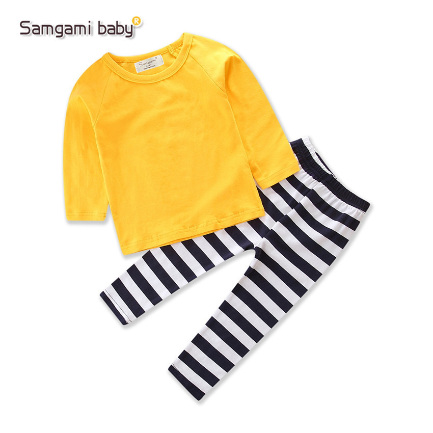 Samgami baby spring household ins hot style yellow top + striped pants 17937