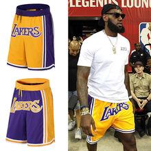 詹姆斯同款湖人短褲雙層夏季運動短褲時尚潮流休閑寬松籃球短褲