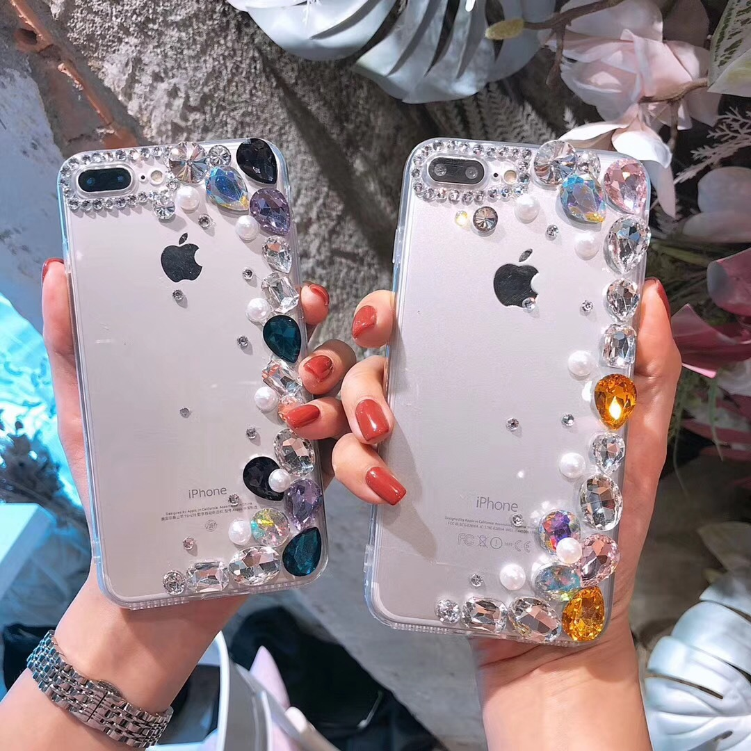 NOTE8 Pearl Rhinestone iPhoneX 8plus Apple 6S 7 Acrylic Transparent Soft Case S9 Mobile Shell R15