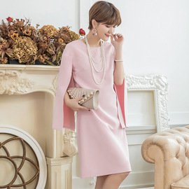 Cui Ying cuiying spring and summer dress female new ladies temperament shawl sleeve solid color dress