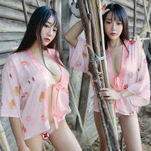易揚新款夏情趣內衣和服開衫極度誘惑罩衫睡衣日式浴衣女廠家4065