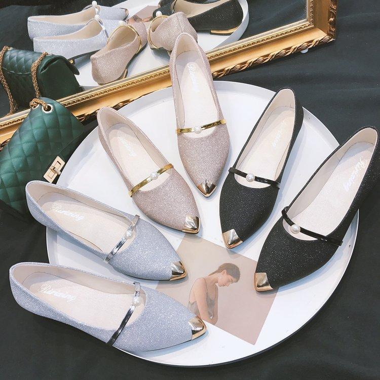 2020春夏秋冬季单鞋女鞋珍珠休闲大码孕妇平底鞋一脚蹬懒人鞋外贸