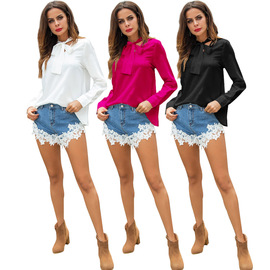 Autumn new  solid color scarf with bow shirt temperament ladies long sleeves slim shirt