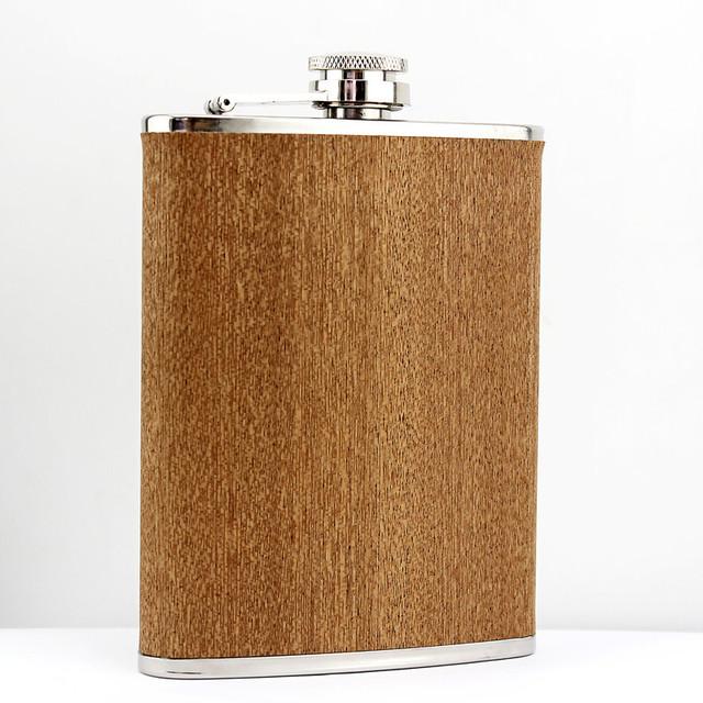 不锈钢酒壶男士户外便携随身酒壶8盎司 木头纹酒壶