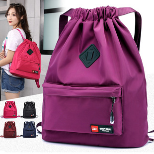 New ladies backpack large capacity nylon cloth bag 5 colors optional drawstring outdoor travel backpack