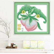 歡樂99十字繡線繡福壽雙全創意壽桃銅錢精美圖案客廳臥室掛畫批發