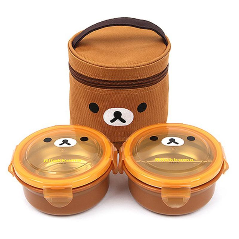 韩国正品 轻松熊 日本小熊 儿童不锈钢双层便当 学生隔热圆形饭盒