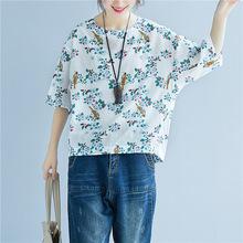廠家直銷文藝范棉麻大碼女T恤衫胖mm寬松花鳥印花蝙蝠袖上衣