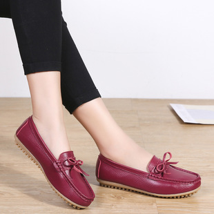 Chinese New Year Korean bow peas shoes women's flat casual large size commuter driving single shoes mother shoes