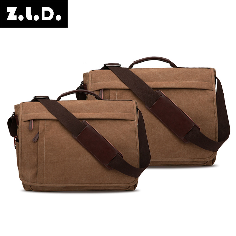牧谷帆布包 男士单肩包 斜挎包 实用商务电脑包 大号可放17寸电脑