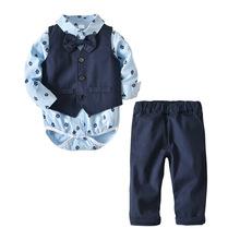 跨境童裝 春秋新款小男童紳士套裝兒童長袖領結四件套裝