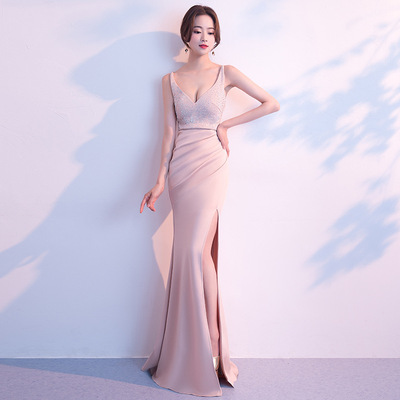 Evening dress female banquet sexy deep V sling lady long fishtail