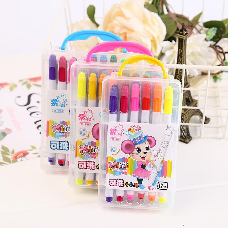 批发新款儿童手提式水彩笔套装创意卡通环保学生可水洗画笔涂鸦笔