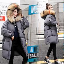 加肥加大碼冬裝面包服女式中長加厚棉襖歐美潮棉衣毛領保暖棉外套