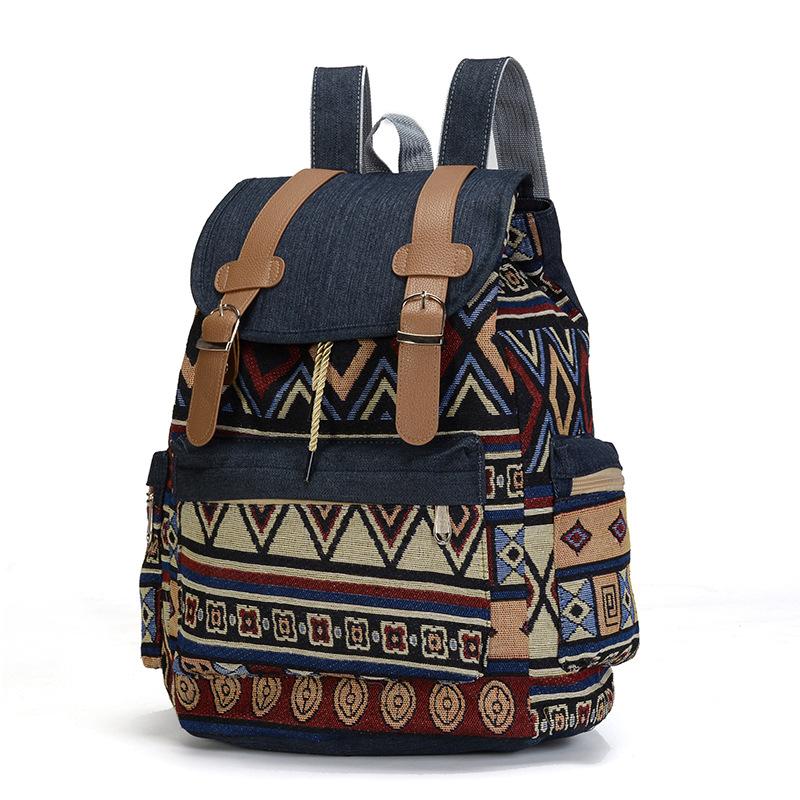 一件代发新款民族风女式双肩包牛仔撞色背包大容量抽绳学生包