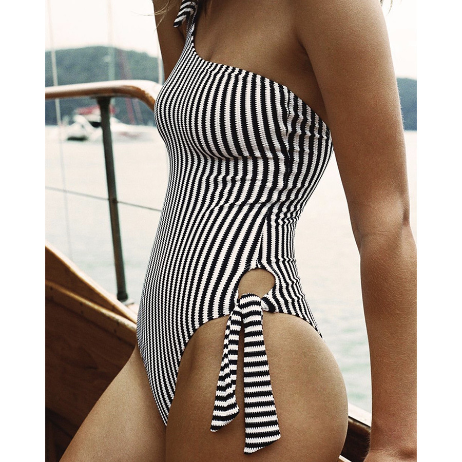 solid color one-shoulder lace one-piece swimsuit  NSHL35534