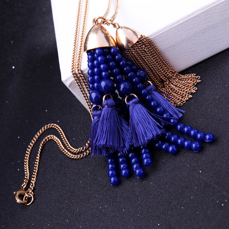 Alloy Fashion Tassel necklace(Pink-1) NHQD5151-Pink-1