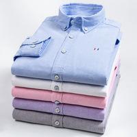 Осень верх новый для отдыха [成衣水洗] полностью хлопок [牛津纺] мужской сорочка чистый хлопок приталенный [免烫] корейская версия рубашка мужской