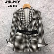 复古黑白格子西装外套女2018冬新款中长款韩国港风百搭单排扣西服