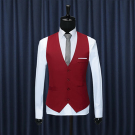In autumn, the new British fashion men's suit vest fit shoulder men's vest suit horse clip fashion is handsome.