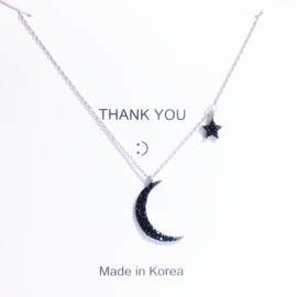 Korean fashion ins net red black diamond star necklace simple personality cold wind moon clavicle chain female